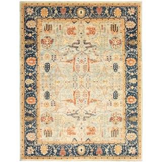 Hand-knotted  Peshawar Oushak Light Blue  Wool Rug  ECARPETGALLERY - 9'0 x 11'11