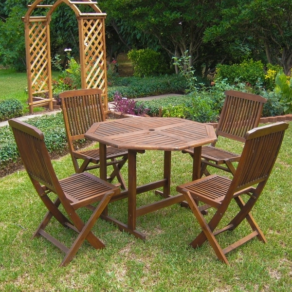 International Caravan Acacia 5 Piece Stowaway Patio Dining Set