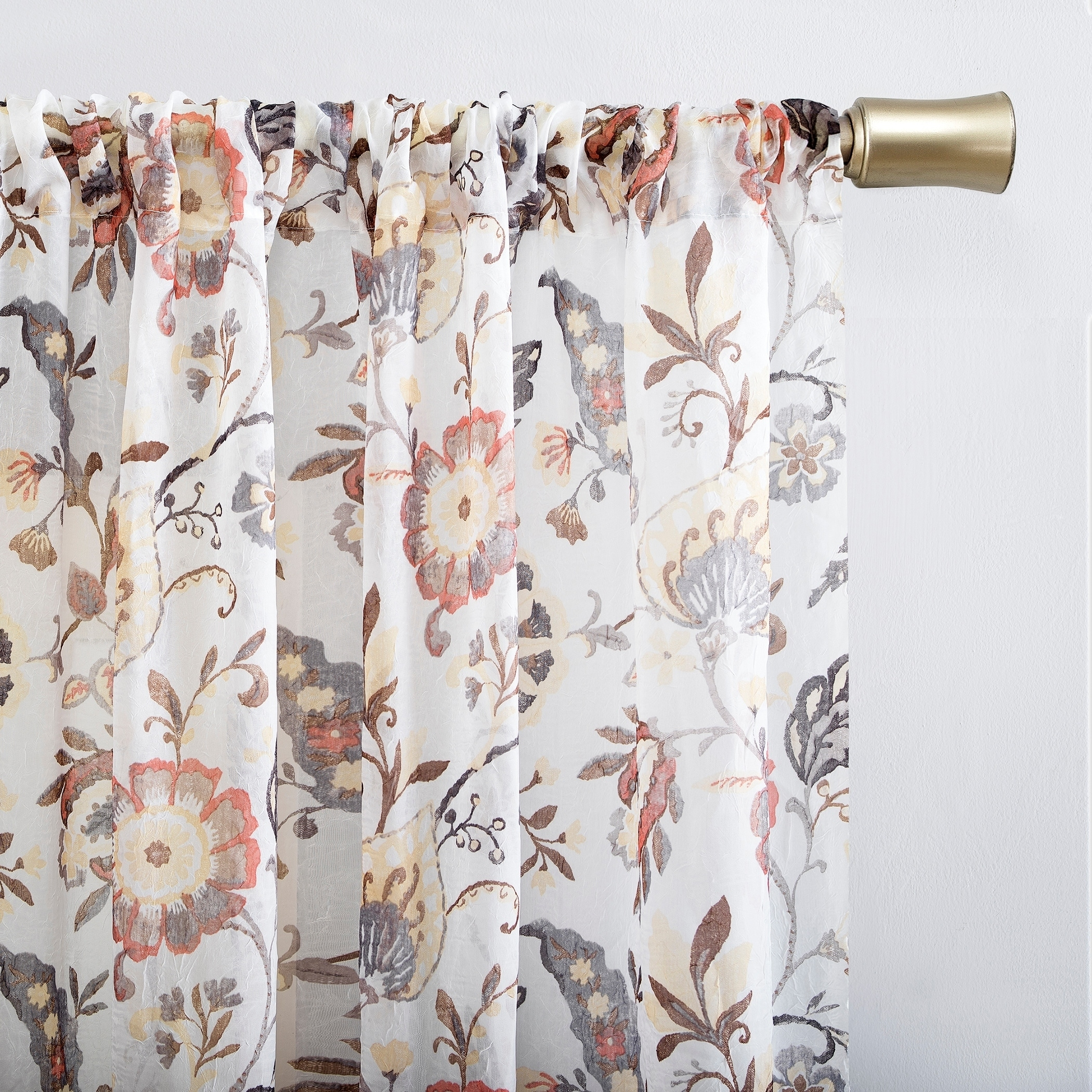 Shop For No 918 Sarita Floral Print Sheer Rod Pocket Curtain Panel Get Free Delivery On Everything At Overstock Your Online Home Decor Outlet Store Get 5 In Rewards With Club O 29869272