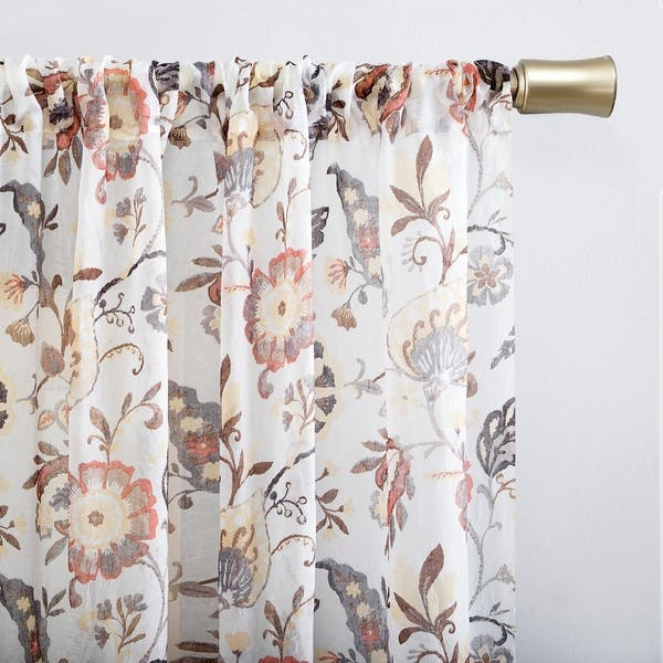 No 918 Sarita Floral Print Sheer Rod Pocket Curtain Panel On Sale Overstock 29869272