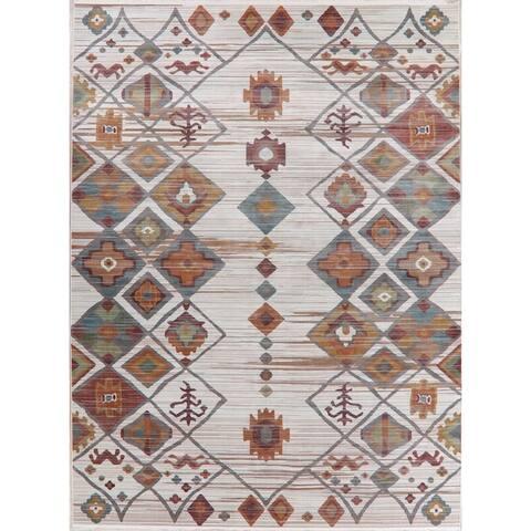 Southwest Distressed Geometric Vintage Style Turkish Area Rugs Bedroom