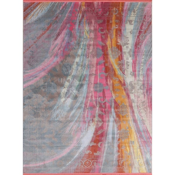 Abstract Multi-Color Vintage Style Distressed Heat-Set Area Rugs