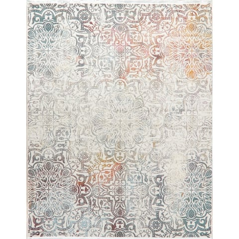 Contemporary Vintage Style Distressed Transitional Area Rugs Heat-Set
