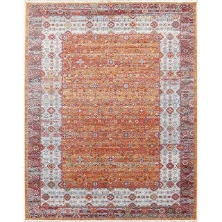 Distressed Geometric Turkish Oriental All-Over Rust Area Rugs