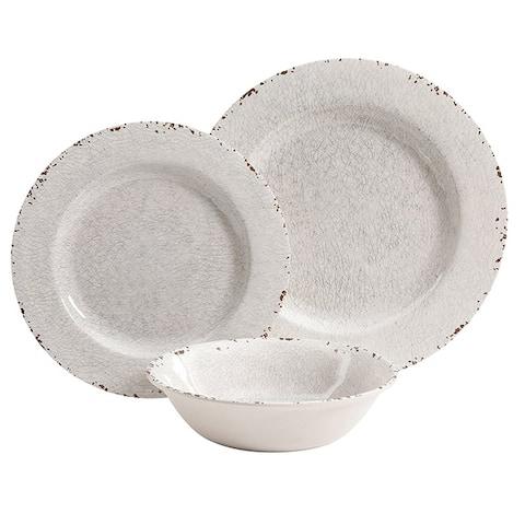 Mauna 12 Piece Dinnerware Set in Ice Crackle Look Decal
