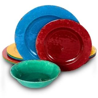 Mauna 12 Piece Assorted Crackle Decal Melamine Dinnerware Set