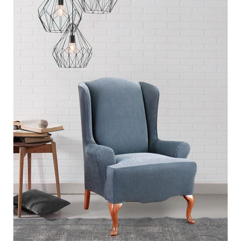 Sure Fit Stretch Stripe Wing-Chair Slipcover