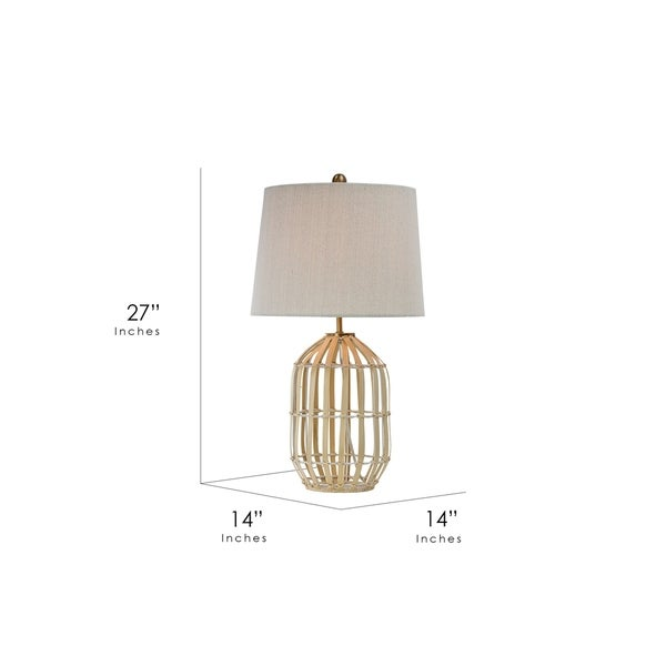 """Rattan Table Lamp with Canvas Drum Shade (25"""")"""