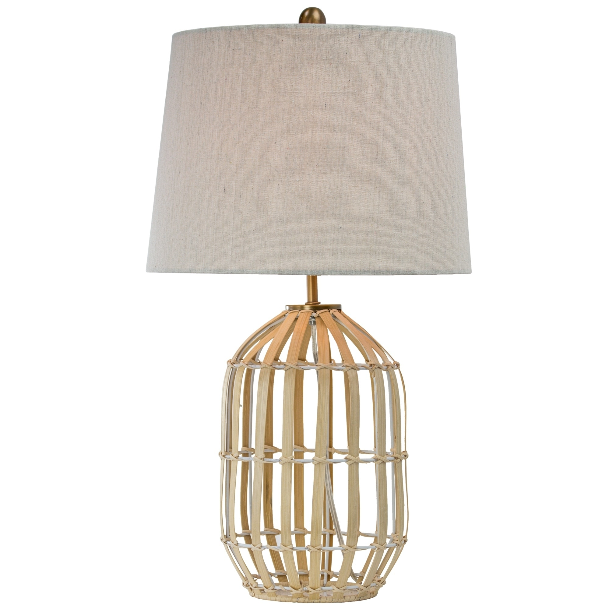 Rattan Table Lamp With Canvas Drum Shade 25 On Sale Overstock 29869476