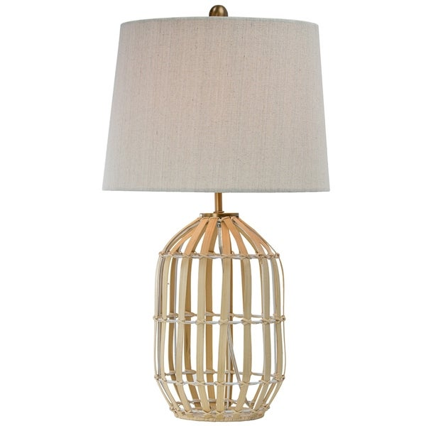 "Rattan Table Lamp with Canvas Drum Shade (25""). Opens flyout."