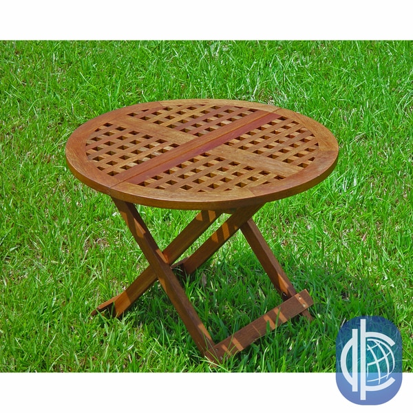 International Caravan Acacia Round 24.5-inch Checkerboard Folding Table
