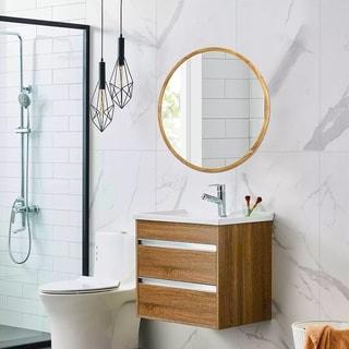 Carson Carrington Salungen Wall-mounted Round Mirror - Oak