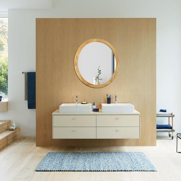 Carson Carrington Salungen Maple Wall-mounted Round Accent Mirror