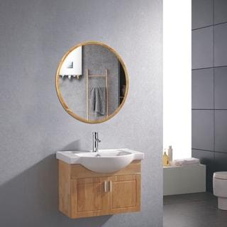 Carson Carrington Salungen Wall-mounted Round Accent Mirror - Maple