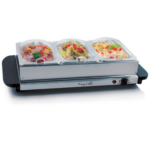 MegaChef Buffet Server & Food Warmer with 3 Sectional Trays