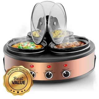 Round Triple 1.5 Qt Slow Cooker Server in Copper with 3 Ceramic Pots