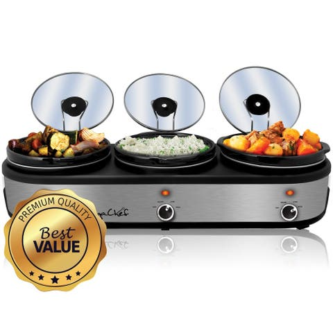 Triple 2.5 Qt Slow Cooker Server in Brushed Silver with Ceramic Pots