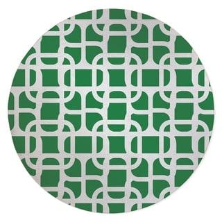 LUKE DESIGN WHITE ON GREEN Area Rug By Kavka Designs