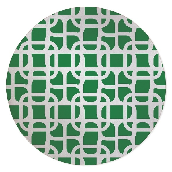 LUKE DESIGN WHITE ON GREEN Area Rug By Kavka Designs