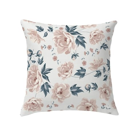COLETTE PINK FLOWER ON WHITE Decorative Pillow by Kavka Designs