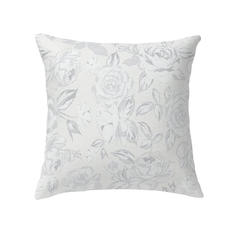 ROSE WHITE FLOWER Decorative Pillow by Kavka Designs
