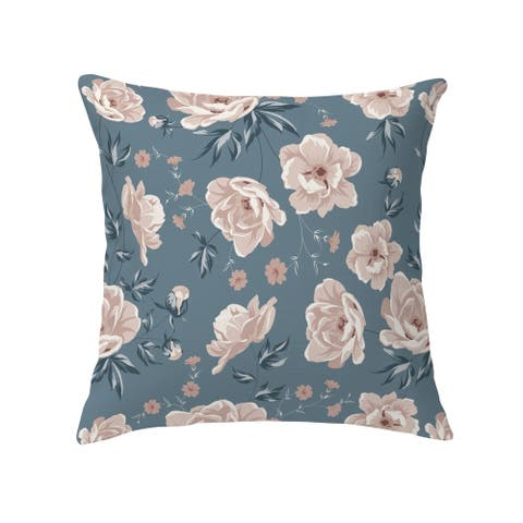 COLETTE PINK FLOWER ON BLUE Decorative Pillow by Kavka Designs