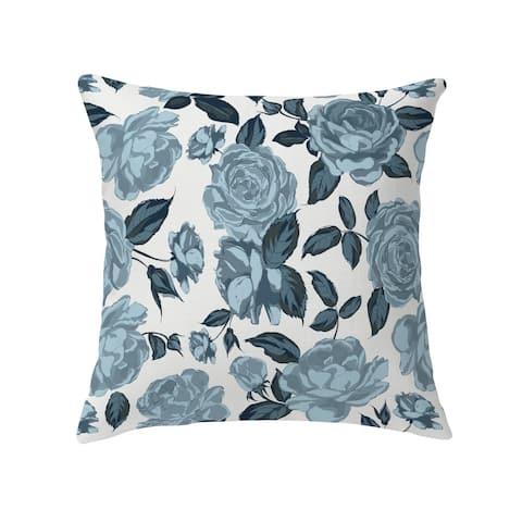 ROSE BLUE FLOWER Decorative Pillow by Kavka Designs