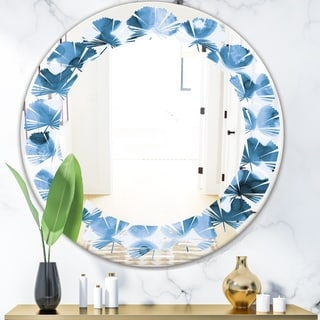 Designart 'Indigo watercolor geometrical VI' Modern Round or Oval Wall Mirror - Leaves