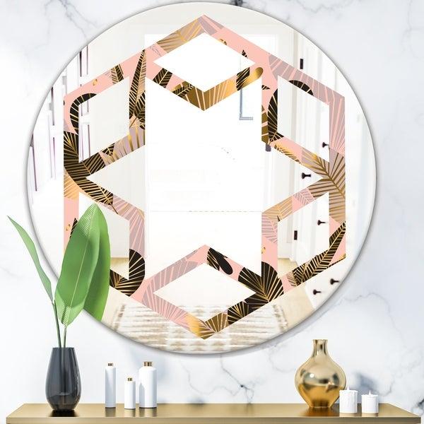 Designart 'Golden Foliage III' Modern Round or Oval Wall Mirror - Hexagon Star