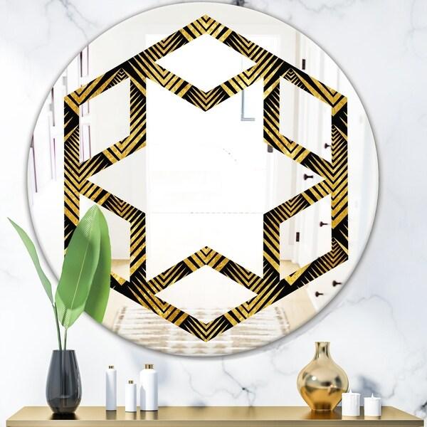 Designart 'Art Deco Seal pattern' Modern Round or Oval Wall Mirror - Hexagon Star
