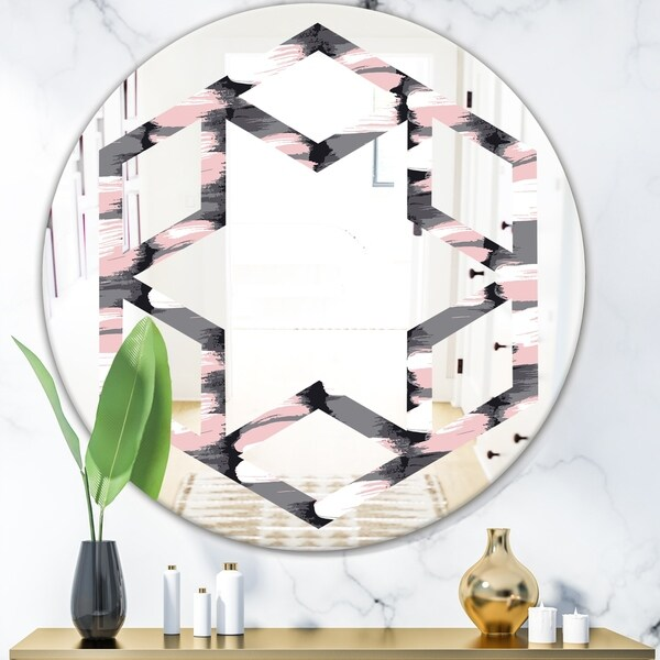 Designart 'Paint brush strokes pattern' Modern Round or Oval Wall Mirror - Hexagon Star