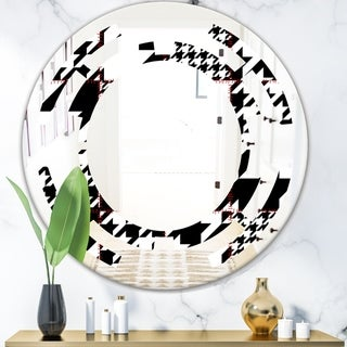 Designart 'Classic Houndstooth Pattern' Modern Round or Oval Wall Mirror - Space