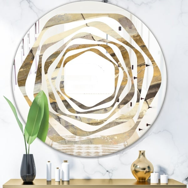 Designart 'Fire and Ice Minerals V' Modern Round or Oval Wall Mirror - Whirl