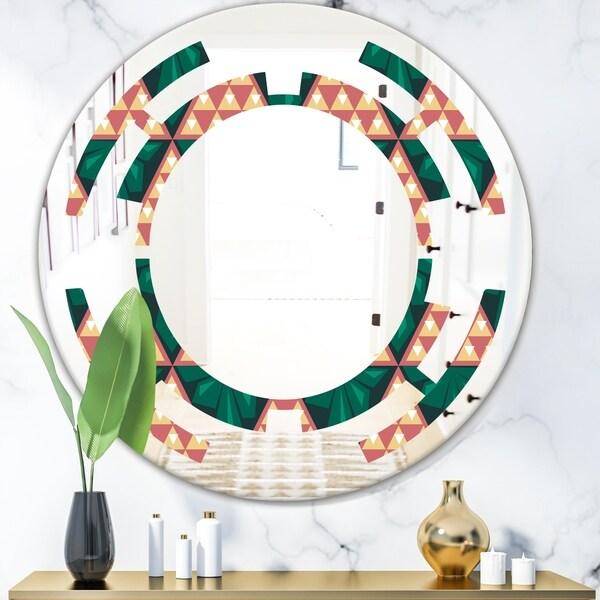 Designart 'Abstract Geometric Retro II' Modern Round or Oval Wall Mirror - Space