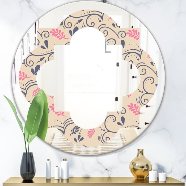 Designart 'Retro Botanical Pattern X' Modern Round or Oval Wall Mirror - Quatrefoil