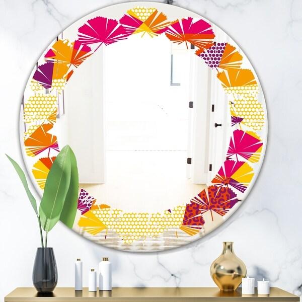 Designart 'Abstract Geometric Retro III' Modern Round or Oval Wall Mirror - Leaves