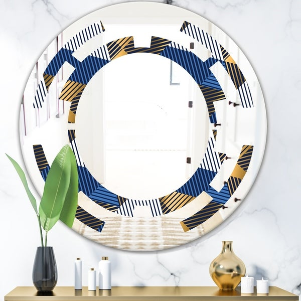 Designart 'Retro Luxury Waves In Gold and Blue V' Modern Round or Oval Wall Mirror - Space