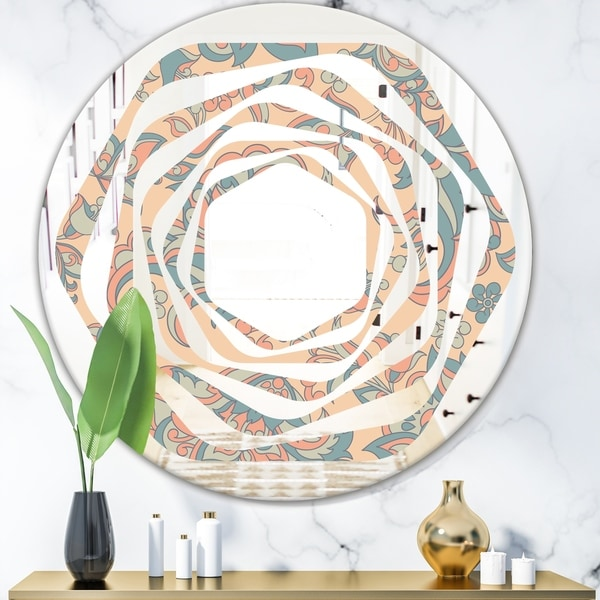 Designart 'Retro Indian Floral Batik II' Modern Round or Oval Wall Mirror - Whirl