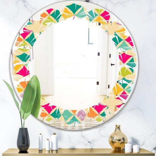 Designart 'Abstract Retro Geometric Pattern III' Modern Round or Oval Wall Mirror - Leaves - Multi