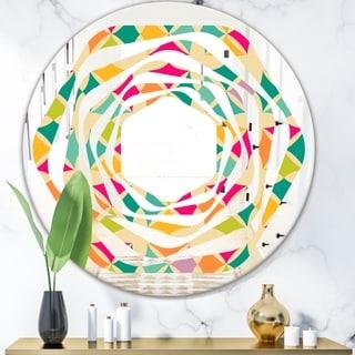 Designart 'Abstract Retro Geometric Pattern III' Modern Round or Oval Wall Mirror - Whirl - Multi