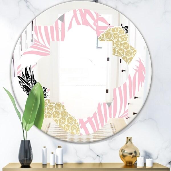 Designart 'Golden Pineapple Pink Leaves' Modern Round or Oval Wall Mirror - Quatrefoil