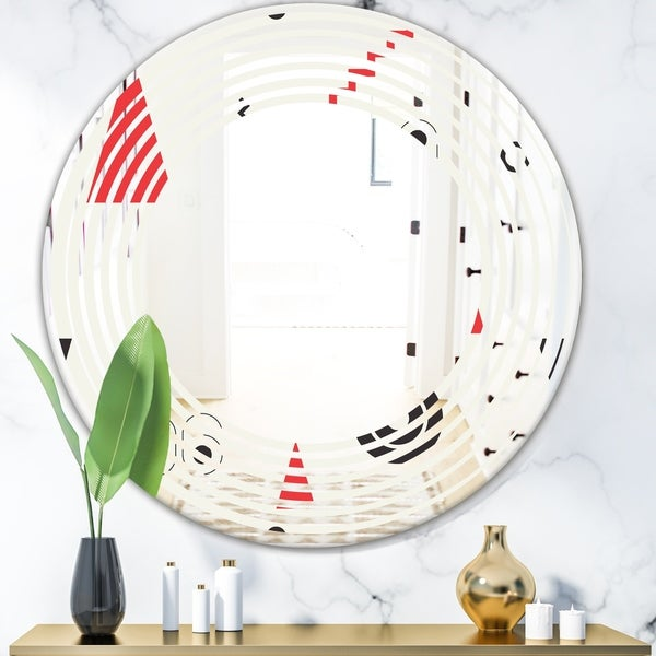 Designart 'Triangular Retro Design III' Modern Round or Oval Wall Mirror - Wave