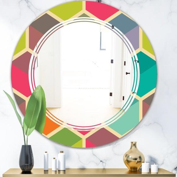 Designart 'Retro Hexagon Pattern I' Modern Round or Oval Wall Mirror - Triple C - Multi