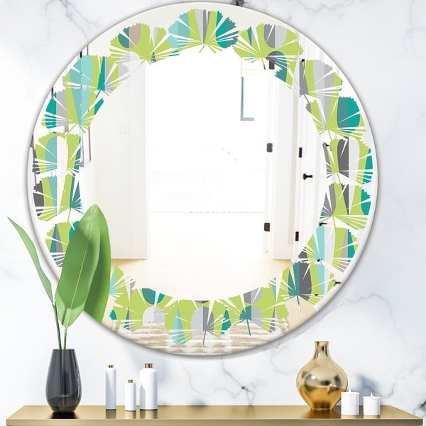 Designart 'Retro Abstract Drops VI' Modern Round or Oval Wall Mirror - Leaves