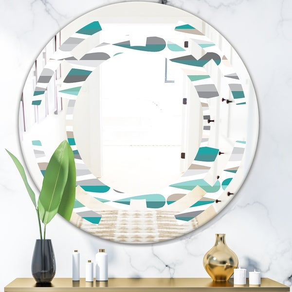 Designart 'Retro Abstract Drops III' Modern Round or Oval Wall Mirror - Space