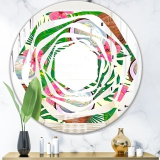 Designart Tropical Cooconut And Jungle Flowers Modern Round Or Oval Wall Mirror Whirl On Sale Overstock 29870645