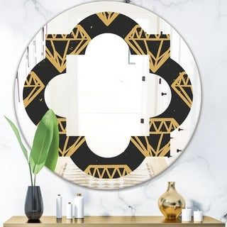 Designart 'Vintage Golden Diamonds' Modern Round or Oval Wall Mirror - Quatrefoil