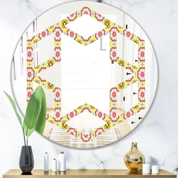 Designart 'Retro Ethnic Abstract Kaleidoscope Design' Modern Round or Oval Wall Mirror - Hexagon Star