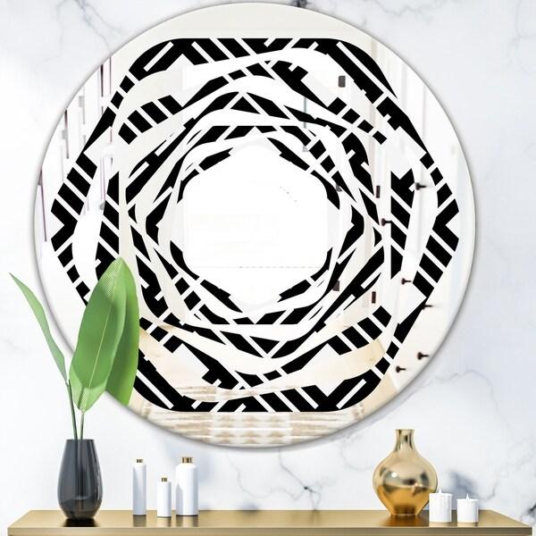 Designart 'Monochrome Geometric Pattern II' Modern Round or Oval Wall Mirror - Whirl