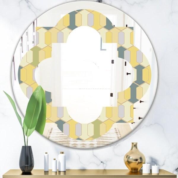 Designart 'Abstract Retro Geometrical Design II' Modern Round or Oval Wall Mirror - Quatrefoil